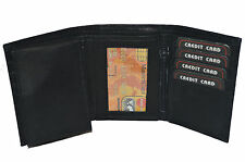 BLACK FRIDAY SPECIAL - Men's Trifold wallet with pull out flap black brown tan