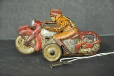 Vintage Wind Up Racer No.8 Acrobet Litho Motorcycle Tin Toy , Japan