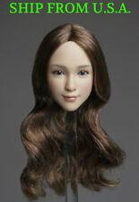 "1/6 Female Head Sculpt B Long Brown Hair For 12"" PHICEN Hot Toys Figure ❶USA❶"