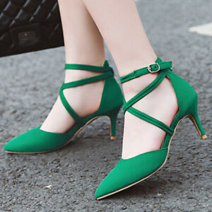 Women's Pumps Shoes Ankle Strap Pointed Toe Kitten Heel Dress Sandals US 6 Green