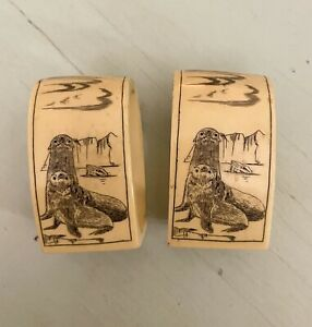 NANTUCKET AFTEK-POOL Faux Scrimshaw Save the Whale Set of 2 Napkin Rings VGUC