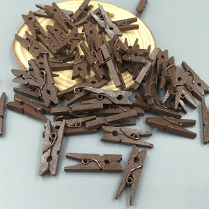 50pcs Mini Brown color Wooden Clothe Photo Paper Peg Clothespin Clips 25mm