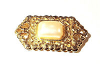 VINTAGE SIGNED - FLORENZA - 1970s Square Pearl Victorian Revival Gold Brooch Pin