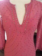 Size 12 Principles Salmon Pink Sequin Tunic Top Silk Dress Christmas Party