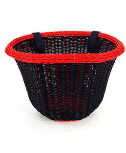 ColorBasket Oval Adult Front Bike Basket Black/Red 14.5 x 10.75 x 9.75