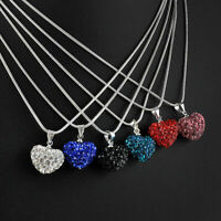 Heart Necklace Gift Crystal Rhinestone Pendant Silver Plated Chain Jewelry Women