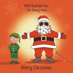 Merry Christmas Card with Fancy Nose - Xmas Card - Funny Christmas Card - Santa