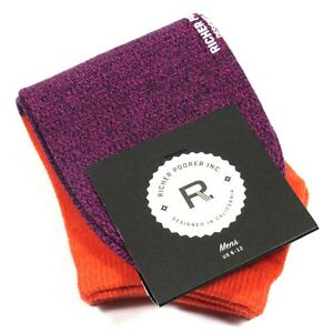 RICHER POORER Men's No-Show Socks Color Block Orange & Navy One Size