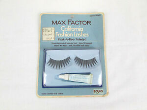 Vtg Nos Max Factor Natural Black California Fashion Lashes Peek-A-Boo Pointed