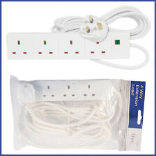 Electrical 4 Way Extension Lead 2m Cable 13A Plug Neon Indicator White Cord Gang