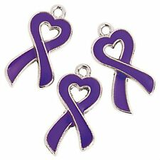 100 PURPLE Ribbon Relay For Life Metal Awareness Charms ADHD, Cancer epilepsy