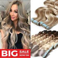 BODY WAVE 40PCS/100G Tape In Remy Virgin Human Hair Extensions Skin Smooth Weft