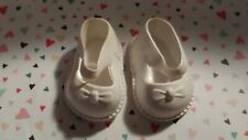 Vintage Soft Plastic White Mary Jane Molded Bows Shoes Hong Kong