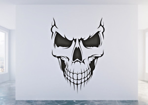 Skull Face Bones Halloween Gothic Horror Pirate Wall Sticker Decal any colour