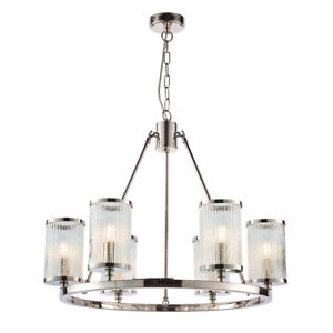 3 or 6 Light Chandelier Fitting Bright Nickel Hoop Pendant & Ribbed Bubble Glass