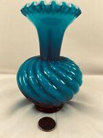 FENTON *R A R E* Jamestown Blue Overlay Cased Swirl Vase - SCARCE! 1957-59