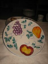 TABLETOPS UNLIMITED FRUTTIE DINNER PLATE FRUIT DESIGN GRAPES PEAR APPLE-SET OF 7