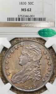 1830 50C MS62 CAC Small 0 Capped Bust Silver Half Dollar, TONED!