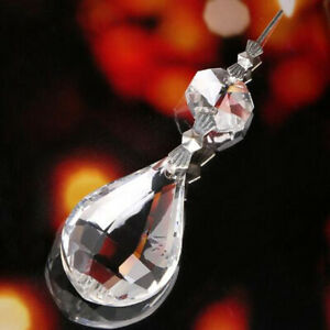 10Pcs Teardrop Crystal Glass Lamp Prisms Part Decoration Pendant +Octagon Beads
