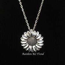 Gorgeous Large Silver Sunflower Charm Pendant On A Link Necklace Chain