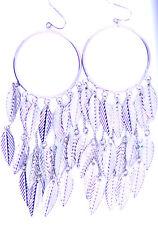leaf chandelier earrings 11.5cm silver tone