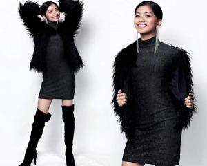 ROBE COURTE PAILLETTES BRILLANTE FEMME NUISETTE 38 40 SEXY UNDERWEAR DRESS WOMAN