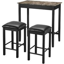 Compact Pub Table 3 Piece Breakfast Set Dining Small Kitchen Wood Furniture New