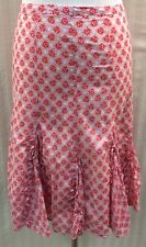 Odille Anthropologie Pink Coral Floral Fit Flare Cotton Skirt Women's 2