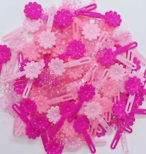HUGE LOT 180 PINK BARRETTES DAISY FLOWER GIRL HAIRBOW CLIP PONYTAIL DRESS SCHOOL
