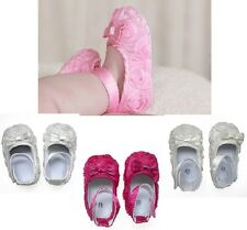 Baby Toddler Satin Rosette Soft Soled Slippers Dress Shoes - Great Gift!