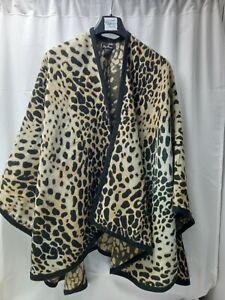 ❤ Pia Rossini Leopard Print Cape Shawl Wrap One Size Vgc