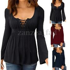 Women Long Sleeve Sexy V Neck Cross Lace Up Bandage Casual Tops Blouse T-shirt