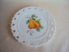 VINTAGE MILK GLASS HAND PAINTED PLATE WITH PEARS