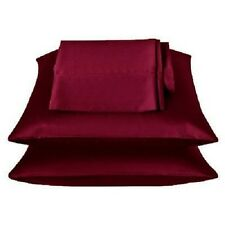 2 Pieces of 350TC Solid Burgundy Soft Silk~y Satin Pillow Case King Size