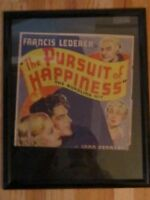 "VINTAGE ""THE PURSUIT OF HAPPINESS"" POSTER - FRAMED - 17"" X 21"" - NICE -"