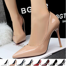 9 Colours Women's Ladies High Heeled Pointy Toes Stilettos Court Shoes Pumps PU