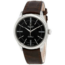 Rolex Cellini Black Dial Brown Leather Automatic Mens Watch 50509BRSL