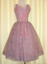 Vtg 50s Atomic Dress Chiffon Prom Rockabilly Pink/Purple tulle Lorrie Deb Sz 13