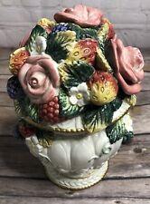 Vintage Fitz and Floyd Floral/Fruits Porcelain Jar with Lid