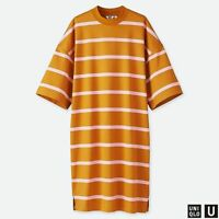 Uniqlo U T Shirt Dress Oversized Sleeves Funnel Striped Caramel Pink Crew Size S