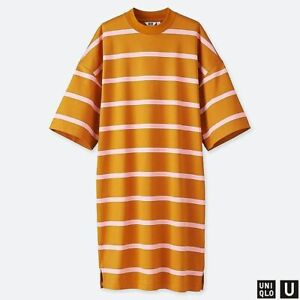 Uniqlo U T Shirt Dress Oversized Sleeves Funnel Striped Caramel Pink Crew Size S