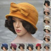 Womens ladies wool Cloche Bucket Cap Wedding  formal beret winter 1920s bow Hat