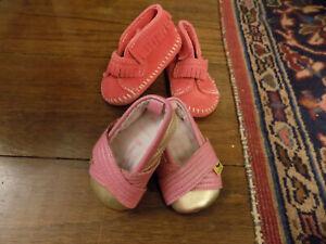 Lot Baby Pink Suede MINNIETONKA Moccasins Boots sz 4 Silver Minnies walkers sz 3
