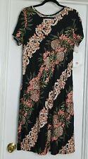 New Hilo Hattie™ Hibiscus Hawaiian Floral Black Pink Crepe Dress MuuMuu M