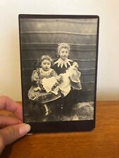 Victorian Carte De Visite Photograph Of Young Girls with Dolls Old Antique