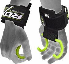 RDX Weight Lifting Wrist Support Straps Hook Bar Grip Gym Powerlifting Hooks OS