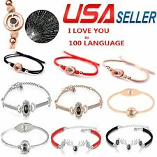 US 100 Languages Light Projection I Love You Pendant Chain Bracelet Lover Gifts