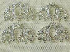 Cameo setting Vtg Victorian Deco style 4 Brooch pin/pendant Silver Plate 18x13mm