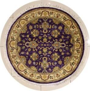 Rugstc 5x5 Senneh Chobi Ziegler Purple Area Rug,Natural dye, Hand-Knotted,Wool