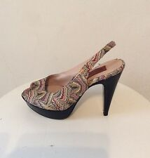 Missoni Tan and Multicolor Woven Platform Stiletto, size 7.5